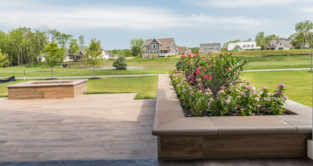 Flower planter overlooking golf course | Hittle Landscaping