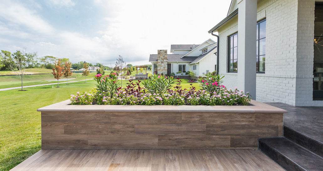 Custom tile planter on back patio | Hittle Landscaping