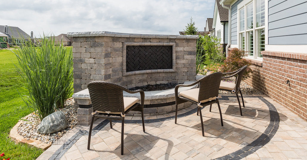 Outdoor fireplace and patio | Hittle Landscaping