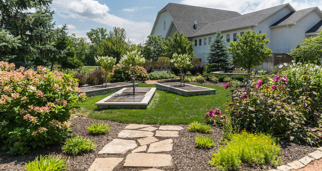 Stone walkway to tree garden | Hittle Landscaping