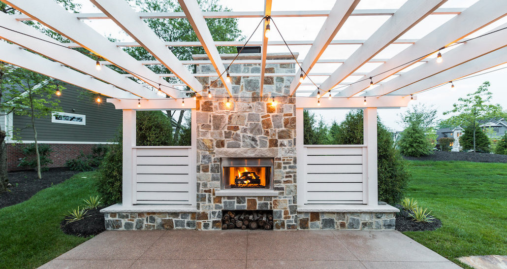 Hittle Landscaping | Pergola with fireplace