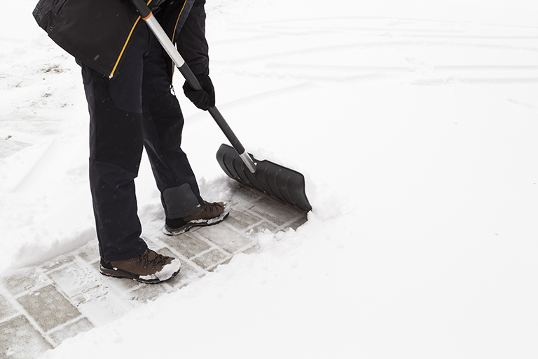 Snow removal on patio | How to Protect Winter Hardscapes | Hittle Landscaping